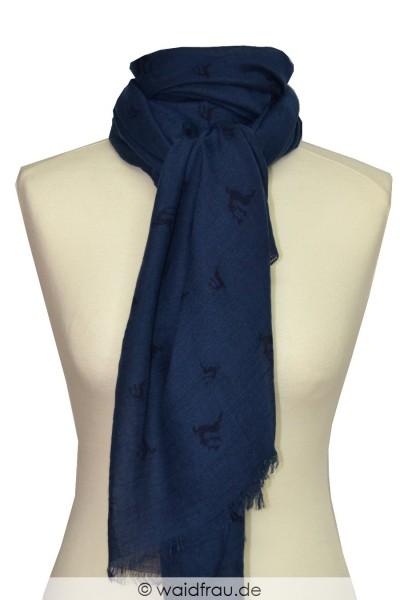 Schal mit Hirschmotiv / Blau
